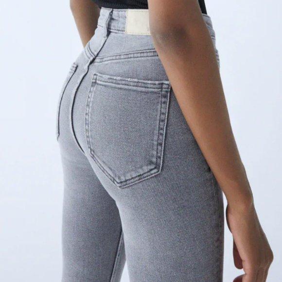 Zara VINTAGE HI-RISE SKINNY JEANS in Grey